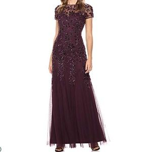 Adrianna Papell Floral Beaded Gown in Night Plum
